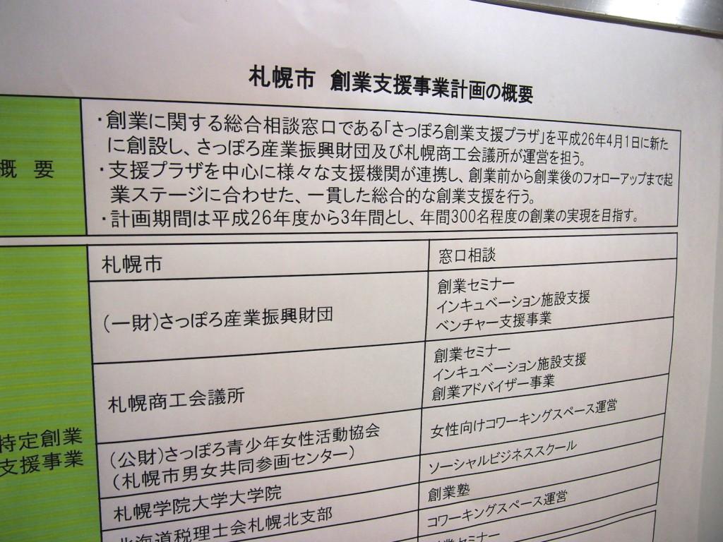 札幌市の創業支援事業の一環、概要