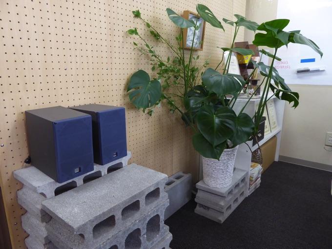 観葉植物とスピーカーとブロック。不思議な組み合わせです