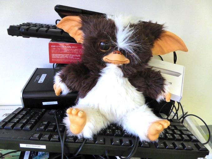 パソコン置き場にはギズモ!