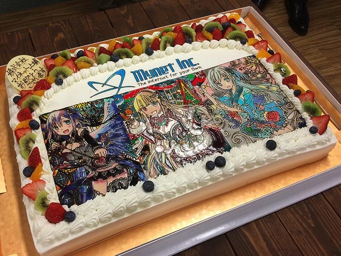 株式会社マイネットの上場を祝うサプライズケーキ