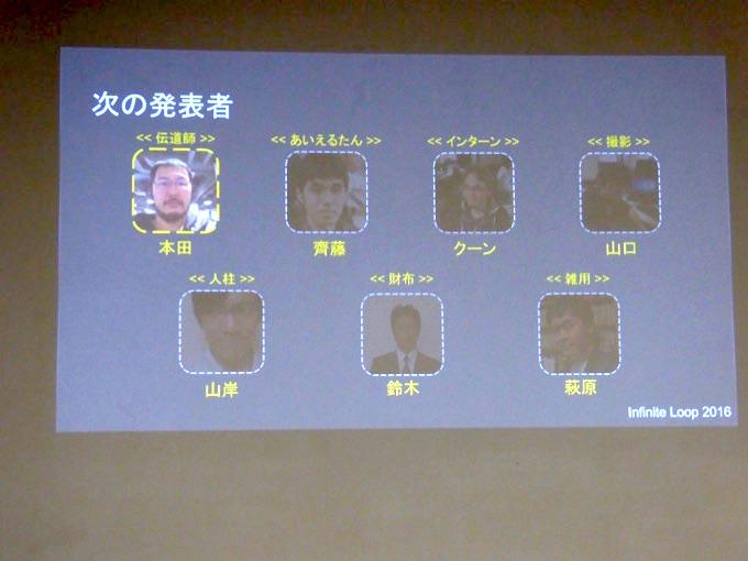 インフィニットループからは7人が発表。各担当も書かれています