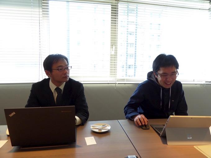 (写真左)サービス開発部の照井美徳さん、(写真右)前田章博社長
