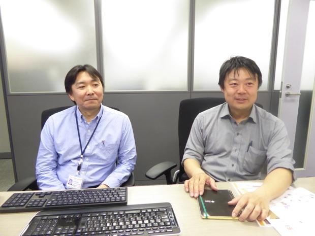 インタビューに応じてくださった株式会社テクノフェイス代表取締役の石田崇さん(右)、ソリューションテクノロジ事業部事業部長代理の小林隆行さん(左)