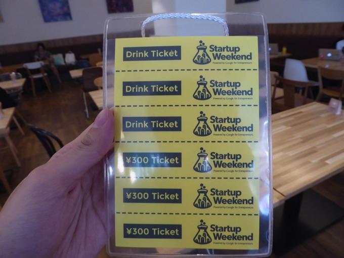 3枚のドリンクチケットと、3枚の300円チケット