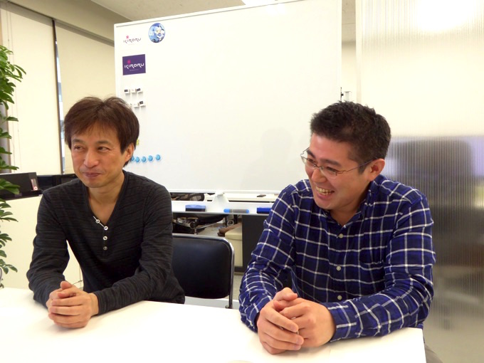 笑みが溢れる、写真左、株式会社キロル代表取締役の坂下賢司さん。写真右、マネージャーの鎌田光宏さん