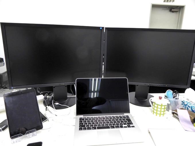 ノートパソコン+ディスプレイ×2