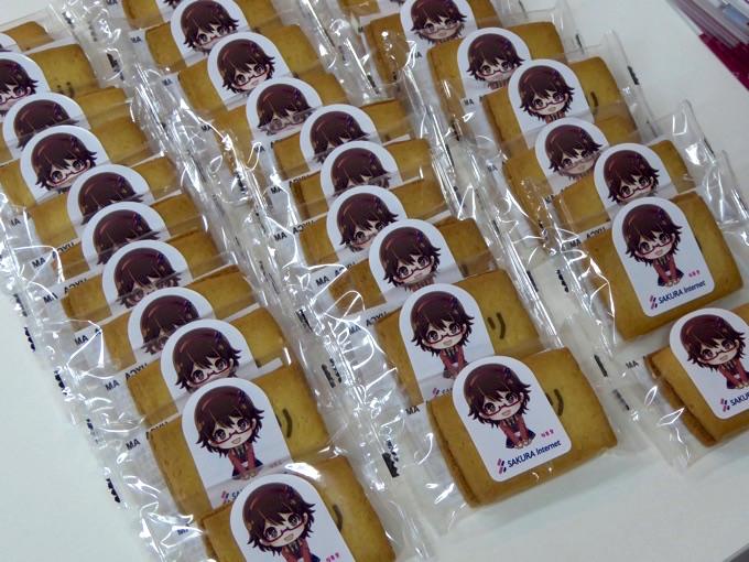 会場に入ってすぐ参加者を迎えるのはさくらインターネットのキャラクター、桜葉愛がパッケージになっているクッキー!