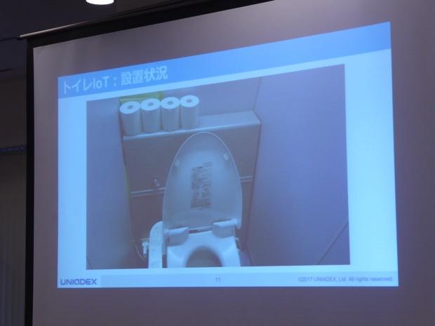 トイレIoTの設置状況。タブレットを隠している。タブレットにセンサーからデータを送っている。センサーは扉の上に作っている。