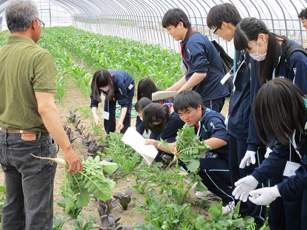 富良野高校の学生が農家の方の話を聞く様子
