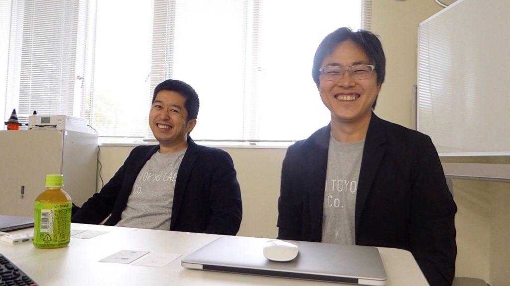 インタビューは和やかに行われました(写真左)AI TOKYO LAB株式会社、代表取締役社長の北出宗治さん(写真右)AI HOKKAIDO LABの所長の土田安紘さん