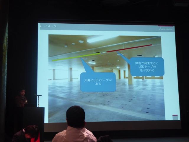 天井にLEDテープを貼る。障害が発生するとLEDテープの色が変わる