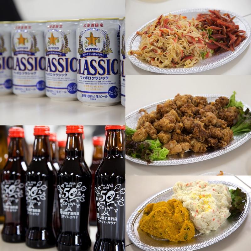 サッポロクラシックビール、ガラナ、千歳鶴、二条市場乾物セット、ザンギ、北海道山わさびの巻物、生の海産物などが提供されました