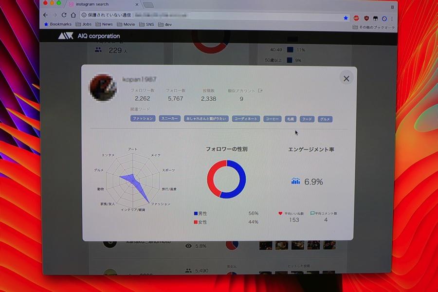 LiveRealでのユーザー画面。関連ワードや、興味のあるジャンル、フォロワーの性別、エンゲージメント率もわかる