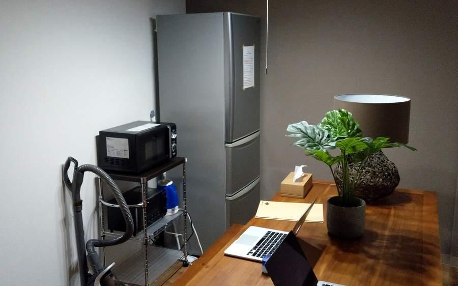 共同スペースに電子レンジや冷蔵庫も