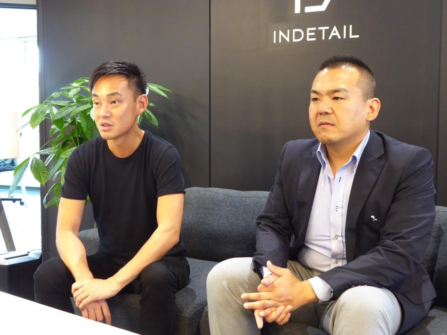 株式会社INDETAIL代表取締役CEOの坪井大輔さんとプロジェクトリーダーの定居美徳さんの左向き