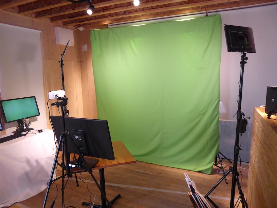 グリーンバックのスタジオ